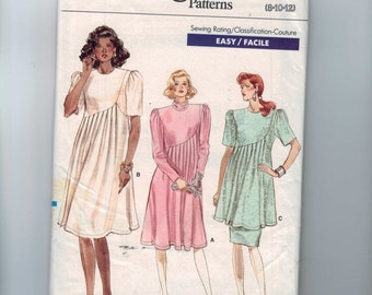 1980s Vintage Sewing Pattern Vogue 7125 Misses Easy Pleated Front Maternity Dress Size 8 10 12 Bust 31 32 34 80s 1988