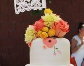 Wedding Cake topper . Papel Picado Centerpiece Flags . DOS PALOMITAS