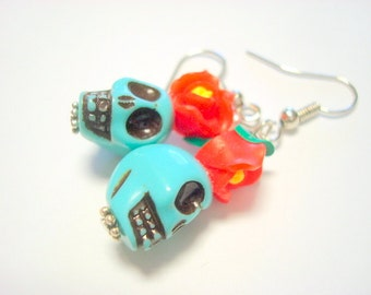 Turquoise and Red Plastic Day of the Dead Sugar Skull and Daisy Earrings Small