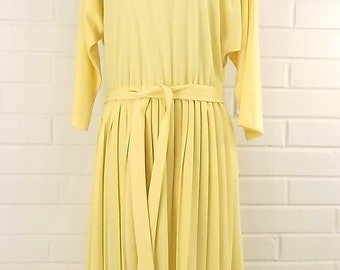 Vintage 80's Pleated Yellow Day Dress, Size 16 Petite, Long Sleeves
