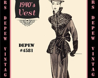 Vintage Sewing Pattern 1940's Winter Vest Accessory in Any Size # 4581 Draft at Home Pattern - PLUS Size Included -INSTANT DOWNLOAD-