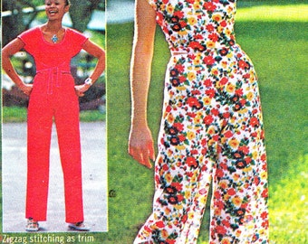1970s Jiffy Wrap Top Pants Vintage Sewing Pattern Simplicity 6920 Wrap Crop Top Wide Leg High Waist Pants Bust 32 1/2