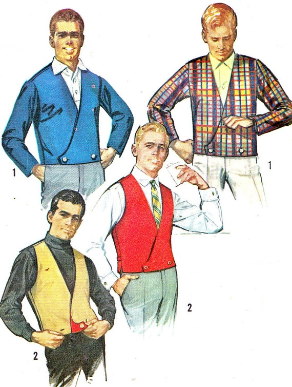 1960s Mens Vest and Jacket Pattern Simplicity 6256 Reversible