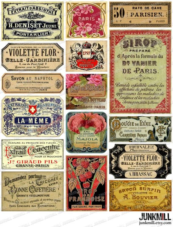 PARISIAN LABELS - Digital Printable Collage Sheet - Vintage French Apothecary Labels, Perfume Labels, Paris France, Printable Bottle Labels