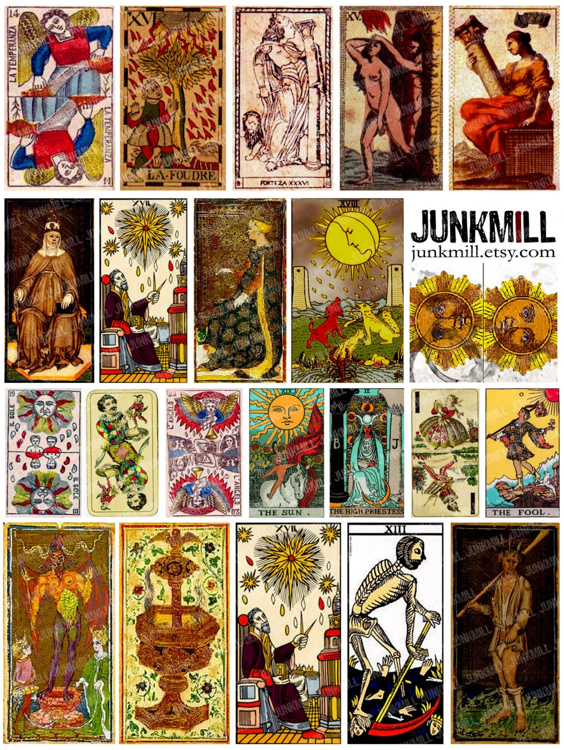Lively image in printable tarot cards