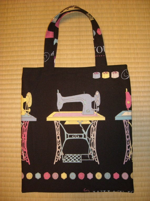 Vintage Sewing Machine Flat Magazine Tote