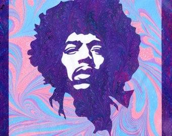 "Jimi Hendrix Pop Art Ebru Portrait print 8.5""x 11"" archival Giclee Print"