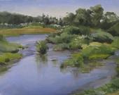 "Sale! Art painting Oregon plein air landscape ""Green Island"" original oil 12x16"""