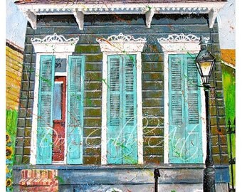 """New Orleans 13x19"""" Art Garden District House Signed Numbered Print """"French Quarter Morning"""""""
