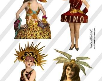 Digital Collage Sheet  Casino Ladies  (Sheet no. O225) Ephemera-Instant Download