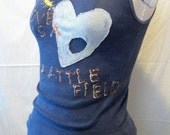 """Patched Heart """"LOVE IS A BATTLEFIELD"""" Emo Applique Tank"""