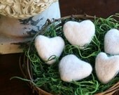 Felted Hearts, Felted Wool Hearts, Set of 5 with Nest, Ivory Felted Hearts