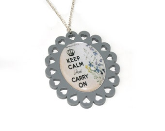 Grey Keep Calm and Carry On Necklace