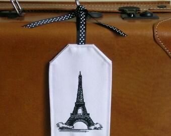 Luggage Tag, Embroidered Luggage Tags,  Eiffel Tower Luggage Tag, Paris LuggageTag, Paris, Eiffel Tower