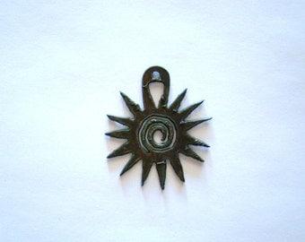 Sunburst Rustic Recycled Metal Pendant Cutout