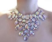 Crystal AB Rhinestone Mega Statement Necklace, Dramatic Necklace, Rhinestone Burlesque Necklace, Jeweled Bib Necklace