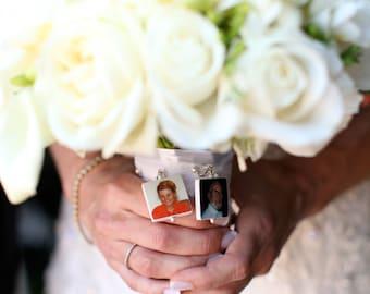 Bridal Bouquet Memorial Photo Charms - 2 Lg. Custom Photo Pendants - BC1x2