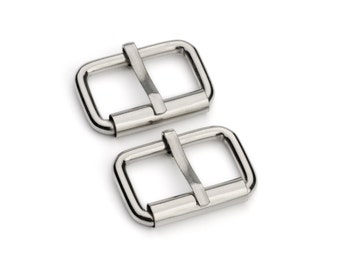 "10pcs - 1"" Roller Pin Belt Buckles - Nickel - Free Shipping (ROLLER BUCKLE RBK-112)"