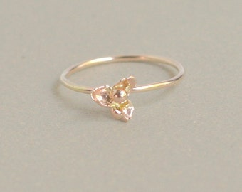 gold hydrangea ring. delicate stacking ring.  SOLID 14k gold hydrangea blossom. tiny flower ring. knuckle ring. midi ring.