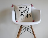 Dripped Pattern PIllow, Cream Cotton Front and Reverse Denim Back with Hot Pink tassels