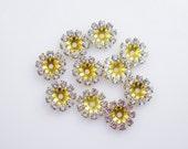 Light Azore Rhinestone Flower Findings Swarovski Multi Rhinestone Round Findings Brass