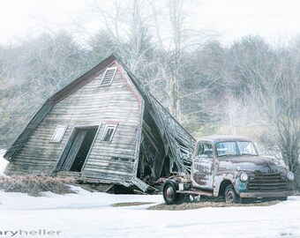 Collapsed barn and old truck - signed photography print, Rustic scenes, old barns, Americana, vintage, free shipping