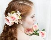 bridal headpiece, bridal flower hair clip, wedding headpiece, bridal hair piece, pink and gold wedding, floral hair comb, floral hair clip,