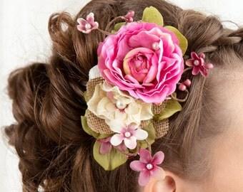 pink hair flower, fuchsia wedding, pink hair comb, hot pink flower, floral hair clip, bridal headpiece, rustic wedding hair accessories