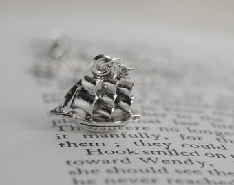 Jolly Roger Pirate Ship Necklace