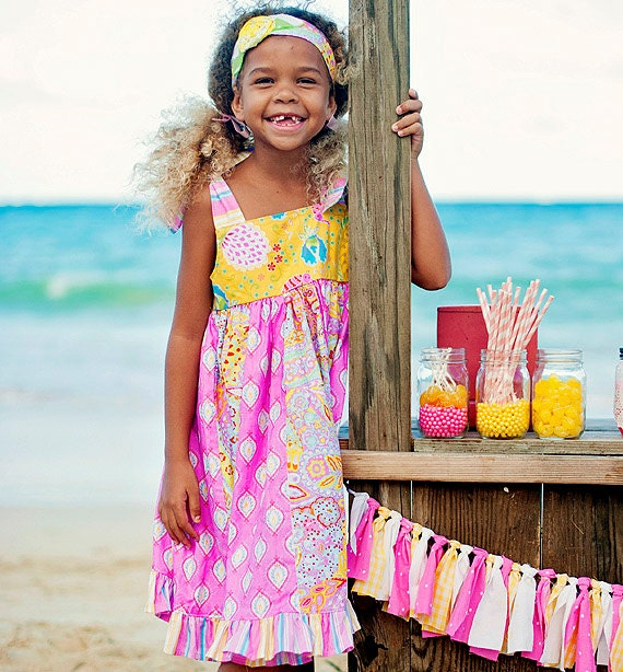 Kids Dress - Hawaiian Dress - Tiered Dress