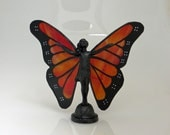 Stained Glass Monarch Butterfly Hand-Painted Fairy Maiden Figurine - Made to Order (MON028)