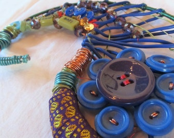 mixed media original LIVE NOW wire wrapped paisley-