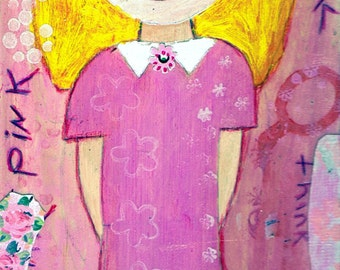 Think Pink - Big Eyes Art - Reproduction of Original Art Work by Jessi Designs