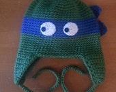 Crocheted Teenage Mutant Ninja Turtles Earflap Hat - Baby, Toddler, Child, Teen and Adult Sizes