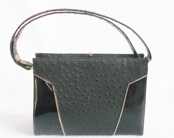Clearance 1960's Vintage Black Ostrich and Patent Leather Purse Hand Bag