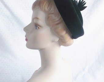 1950's Vintage Black Velour Hat with Ribbon Trim by Jane Morgan New York
