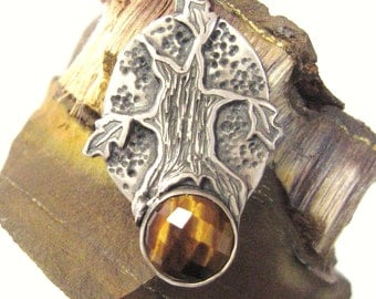 Mighty Oak tree pendant with faceted tiger eye, tree pendant in sterling silver, oak jewelry, spiritual tree, symbolic jewelry