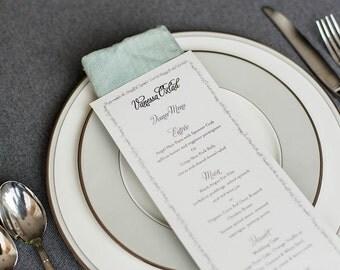 Wedding Menu and Place Card - Escort Card, Song Lyric Menu, Dinner Menu, Reception Menu -  Unique Design - Katrina and Robert