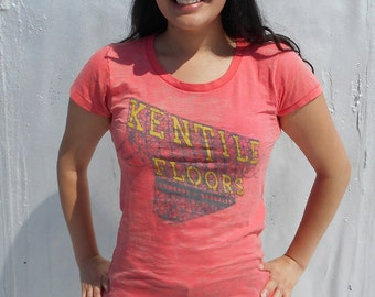 Woman's Kentile Floors Red Burnout T-Shirt