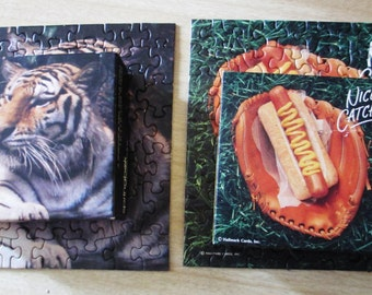 Pair of Complete Springbok Jigsaw Puzzles -Tiger and Baseball Glove/Hot Dog/Nice Catch