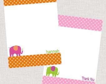 Polka Dot Elephant Personalized Printable Flat Note Cards PDF