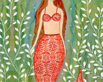 Mermaid Art Print, Mermaid Nursery Decor, Mermaid Decor, Nursery Art Print, Dream Mermaid Painting, Nursery Wall Art, Large Art Print