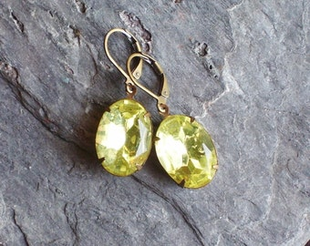 Yellow estate style earrings, jonquil glass jewel earrings, vintage style earrings, yellow earrings, bridesmaid earrings, holiday gift ideas