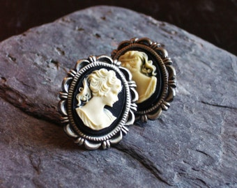 Classic cameo stud earrings, black cameo earrings, cameo post earrings, cameo jewelry, holiday gift idea, gift ideas for mom, Christmas gift