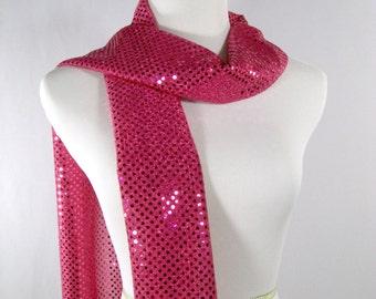 Holiday - Fuchsia Party Scarf - Fuchsia Long Scarf - Hot Pink Sequin Scarf - Shiny Hot Pink Sequin Scarf - Dressy Long Scarf