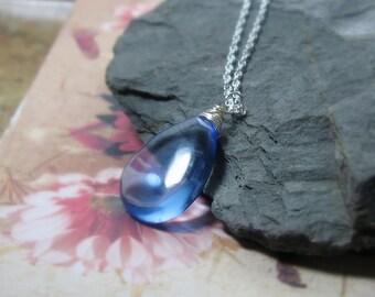 Blue Quartz Pendant, Solitaire, Everyday Necklace