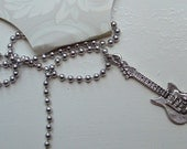 Electric Guitar Charm Necklace silver pewter pendant USA-made lead-free chain or leather