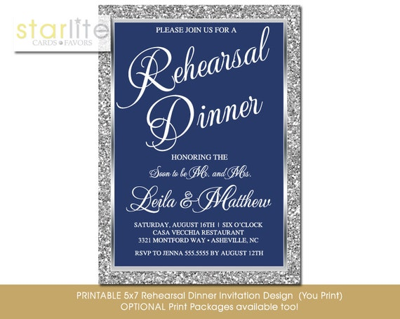 Navy Blue And Silver Wedding Invitations: Navy Blue And Silver Rehearsal Dinner Invitation Navy