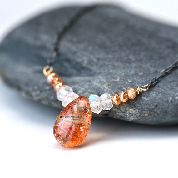 Sunstone and Moonstone Wire Wrapped Mixed Metal Necklace
