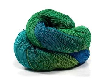 300 Yards Hand Dyed Cotton Crochet Thread Size 10 3 Ply Specialty Thread Blue Aqua Green Teal Fine Cotton Yarn